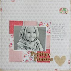 Pretty As A Picture using Dear Lizzy Kids Scrapbook, Scrapbook Designs, Scrapbook Sketches, Scrapbook Page Layouts, Scrapbook Cards, Picture Scrapbook, Scrapbooking Ideas, Photo Layouts, Studio Calico