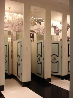 moldings around center door knob on bathroom stall or dressing room doors