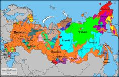 Map of Languages spoken in Russia