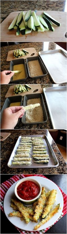 Zucchini Fries: To draw the moisture from the zucchini before cooking, sprinkle a bit of salt on the cut vegetable, and rest. Then blot the moisture with paper towel before fixing recipe. Vegetable Recipes, Vegetarian Recipes, Cooking Recipes, Healthy Recipes, I Love Food, Good Food, Yummy Food, Healthy Snacks, Healthy Eating