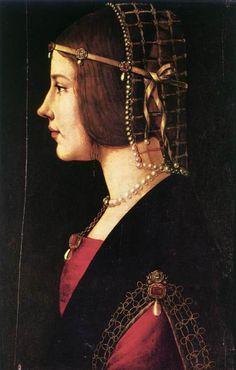 c 1490 Ambrogio de Predis (Italian c1455-c1508)~ Portrait of a Woman; oil on panel, 51 x 34 cm; Pinacoteca Ambrosiana, Milan