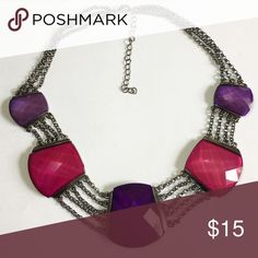 Brand NWOT statement Choker Necklace This is a Brand New statement Necklace with magenta and purple embellishments. Jewelry Necklaces