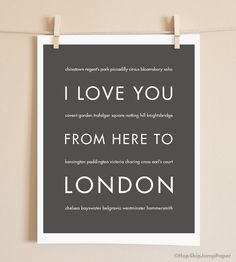 London Art Print I Love You From Here To by HopSkipJumpPaper