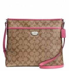 08f3ddb03974 Get one of the hottest styles of the season! The Coach File Ruby Crossbody  Khaki  Pink Ruby Signature Canvas Messenger Bag is a top 10 member favorite  on ...