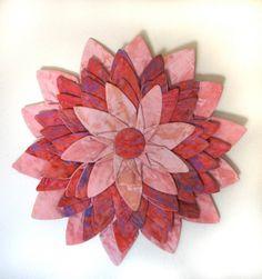 Wall hanging  Flamingo Pink Batik Textile Flower by DavidsonStudio, $55.00