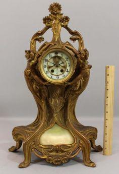 Large-Rare-Antique-Gold-Gilt-Spelter-Art-Nouveau-Women-Flowers-Gilbert-Clock