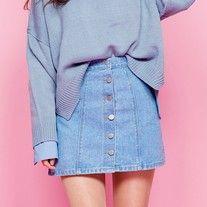 Button up Korean style jean mini skirt from Dejavu Cat