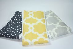 Grey and Yellow Burp Cloth Set Cloth Diaper Burp Cloth by JuteBaby