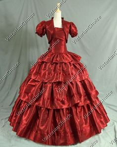 Civil War Victorian Prom Ball Gown Dress Gone with the Wind Theatrical Reenactment Costume