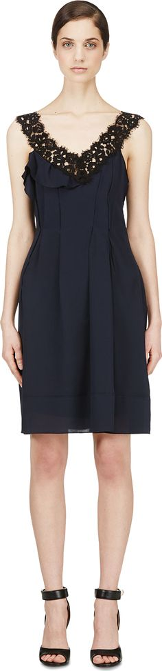 Nina Ricci: Navy Crepe & Lace Pleated Dress | SSENSE