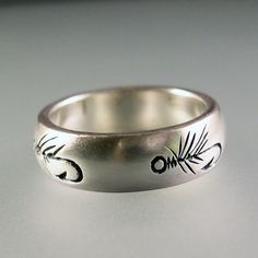 Fly Fishing Ring Wedding Band Nature Ring by ChrisMuellerJewelry
