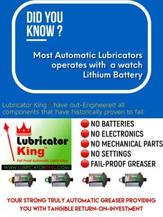 Lubricator King - Failproof Automatic Grease Lubricators!  Choose Return on Investment. 📧 sales@LubricatorKing.com Grease, Did You Know, Investing, Engineering, King, Technology, Greece
