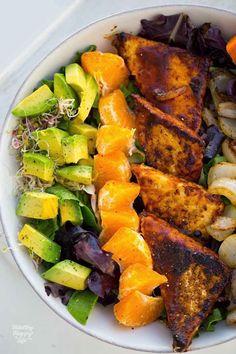 BBQ Tempeh Bowl with Avocado, Sweet Potato and Citrus