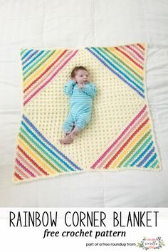 Get the free crochet pattern for this nobody puts baby in a corner baby blanket from Lion Brand Yarn featured in my gender neutral baby blanket FREE pattern roundup!