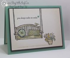 love this card!  Love the swing and flowers and saying!  Sitting Here - Stamp With Amy K