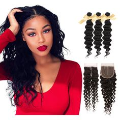 8A Brazilian Hair Extensions With Closure