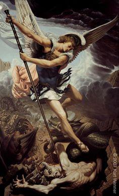 san michele, by Kurt Wenner Religious Images, Religious Art, Archangel Michael Tattoo, Saint Michael Tattoo, Rennaissance Art, Angel Warrior, Baroque Art, Biblical Art, Jesus Pictures