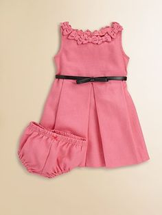 Hartstrings Infant's Bow-Trimmed Dress & Panty Set