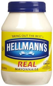 DIY Hellman's Mayonnaise ~~  1 EGG (room temp) ,,1 tsp. DRY MUSTARD ,, 1 tsp. SALT ,, 1/4 c. VEGIE OIL (or Olive Oil) ,, dash CAYENNE PEPPER ,, 1 c. VEGIE OIL. ,, 3 T. VINEGAR ~~ Place First 5 ingredients in blender on low speed. While the machine is blending, SLOWLY pour in another 1/2 c. OIL. Add the VINEGAR and then the remaining OIL. Blend until firm. Store in refrigerator.