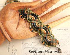 Beaded Micro Macrame Bracelet in Olive Green by KnotJustMacrame