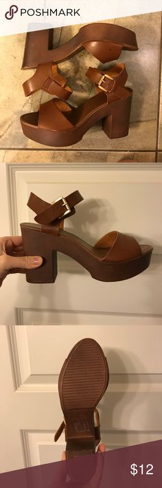 Forever 21 Clog Heels Chunky brown heels! Worn once, owned for a while. Classic Forever 21 quality, so little scuffs here and there. Cute addition to a flowy spring dress or high waisted shorts! Forever 21 Shoes Platforms
