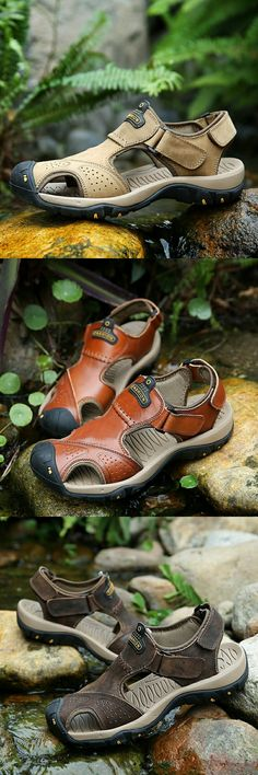 d0f0fc6d434 Amazon Men s Leather Casual Outdoor Summer Shoes Adjustable Straps  Gladiator Sandals