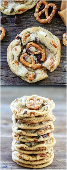 Salted Caramel Pretzel Chocolate Chip Cookies on twopeasandtheirpo... The sweet…