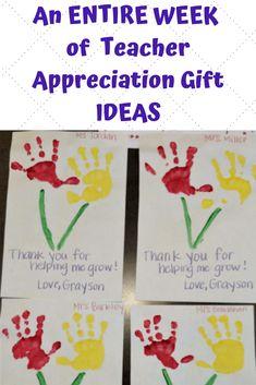 Thoughtful gifts to give for teacher appreciation week for your elementary or preschool teacher.  One gift a day ideas.  #teacherappreciation #thanksteachers #preschoolteachergifts