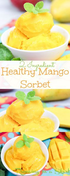 2 Ingredient Healthy Mango Sorbet recipe This easy and delicous sorbet is made in a blender or food processor It s vegan and dairy free using coconut milk and frozen fruit Tastes like a tropical dream Running in a Skirt # Frozen Fruit, Frozen Desserts, Frozen Yogurt, Frozen Treats, Healthy Fruit Desserts, Clean Eating Desserts, Healthy Eating, Healthy Food, Eating Raw