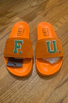 Super rare organs suede Fenty x PUMA slides. Brand new in box. Have two other pairs also brand new in box. Hermes Oran, Fenty Puma, Dust Bag, Footwear, Pairs, Brand New, Sandals, Box, Shoes