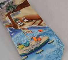 Silk Necktie Tie Tropicalo Tango Tiki Beach Happy Hour Drinks Blue Tropics Fun #TropicaloTango #Tie