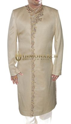 Designer Sherwani is made from a brocade fabric, and hand-embroidered. Brocade Fabric, Indian Suits, Sherwani, Tunic Tops, Traditional, Stuff To Buy, Design, Women, Fashion
