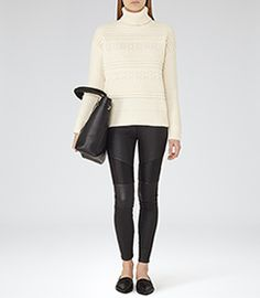 Womens Off White Chunky Roll-neck Jumper - Reiss Austen