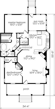 Looking for the best house plans? Check out the Walterboro Ridge plan from Southern Living. Best House Plans, Small House Plans, Stair Plan, Southern Living House Plans, Cabin Floor Plans, Log Home Decorating, Main Door Design, Cottage House Plans, Cottage Ideas