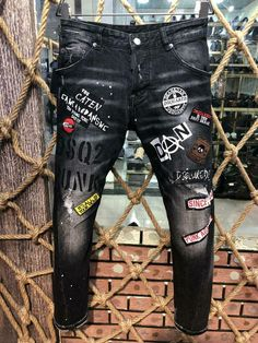Denim Jean Men Dsquared2 Skinny Men Distressed Ripped Denim Bikers Motorcycle #fashion #clothing #shoes #accessories #mensclothing #jeans (ebay link) Slim Fit Mens Jeans, Ripped Jeans Men, Jeans Pants, Jeans Women, Denim Fashion, Fashion Pants, Blue Mom Jeans, Black Jeans, Dope Outfits For Guys