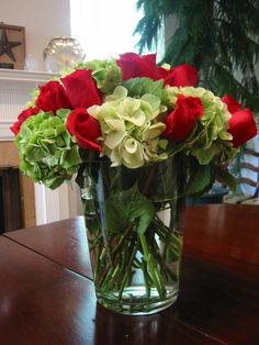 green hydrangeas and ruby roses