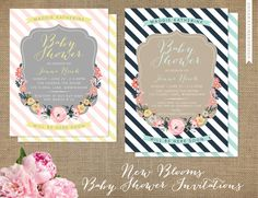 New Blooms Baby Shower Invitations - Floral Botanical Frame - A2 or A7 Size Card - High Quality Printed Invitations on any paper like Metallic Pearl, Linen, Uncoated Smooth - Pink & Yellow / Navy & Mint - available in any color