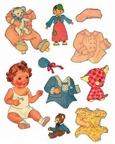 Baby Friends - Teddy* For lots of free paper dolls International Paper Doll Society #ArielleGabriel #ArtrA thanks to Pinterest paper doll collectors for sharing *
