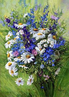 Such Colorful Flowers Pen And Watercolor, Watercolor Flowers, Watercolor Paintings, Floral Illustrations, Illustration Art, Jar Art, Naive Art, Art Tutorials, Art Pictures