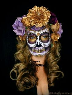 Sugar Skull Makeup Halloween - Dia de muertos-Mexico, cultura, tradicion - Calavera Catrina Day of the death Halloween Sugar Skull, Sugar Skull Costume, Sugar Skull Makeup, Halloween Skull, Halloween Face Makeup, Sugar Skulls, Catrina Costume, Vintage Halloween, Candy Skulls