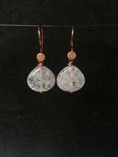 White Quartz Rose Gold Earrings.