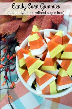 These fun and festive Paleo Candy Corn Gummies make for a tasty and healthy treat perfect for Halloween!