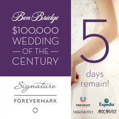 5 days left to enter for your chance to win a $100,000 Wedding of the Century!  http://apps.facebook.com/weddingofthecentury/contests/330642