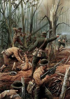 world war one battles Military Art, Military History, Battle Of Belleau Wood, Arte Zombie, Ww1 Art, Ww1 History, Us Marine Corps, World War One, Modern Warfare