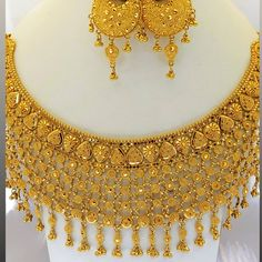Pearl Bridal Jewelry Sets, Real Gold Jewelry, Gold Jewellery Design, Bridal Necklace, Wedding Jewelry, Necklace Set, Gold Necklace Simple, Daffodil, Gold Set