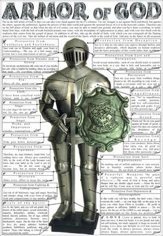 Armor of GOD. Nice tool to draw application from symbolic armor to real life stuggles. FYI - I didn't check out the web site but as far as I can tlell all the references on this picture are from scripture and use properly. Bible Study Notebook, Scripture Study, Jesus Reyes, Christian Warrior, Christian Posters, Christian Art, Christian Living, Bible Knowledge, Armor Of God