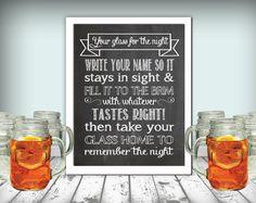 Wedding Mason Jar Glass Drinks Sign Chalkboard Printable 8x10 PDF Instant…