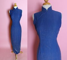 DAZZLING Rare 1950's Metallic Royal Blue Rayon w/ Silver Chrome-Spun Lurex Extreme Hourglass Cheongsam Suzy Wong Evening Gown - Sparkly - M by butchwaxvintage on Etsy https://www.etsy.com/listing/222566492/dazzling-rare-1950s-metallic-royal-blue