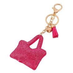"""Mode Petit Porte-clés En Cuir et Strass Style """" #Sac pour femmes""""Couleur #rose. Anneau en Acier Style Plaque Or 18K"""