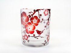 梅と鶯の春恋グラス